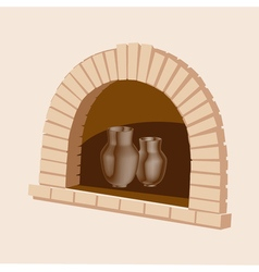 Oven with an jug of dairy products vector