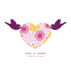 Pink field flowers birds holding heart silhouette vector