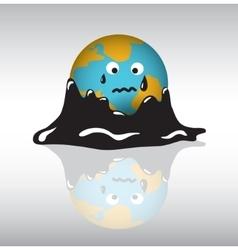 Planet earth sadness crisis oil vector