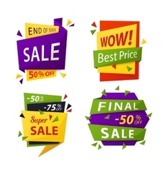 Sale tag or labels for price discount vector