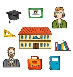 School and education colorful objects vector image vector image