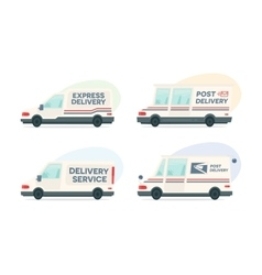 Set of cartoon delivery post car courier vector image