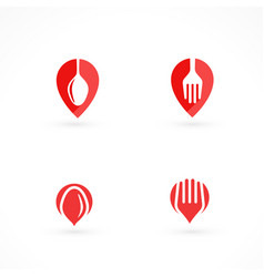 set of food restaurant logos vector image