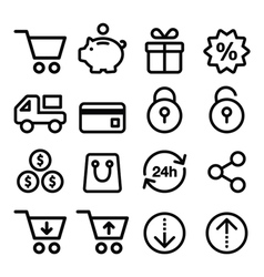 Shopping online store icons set- line stroke vector image