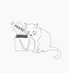 sketch wiht cute cat and paper bag vector image vector image