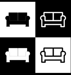 Sofa sign black and white vector