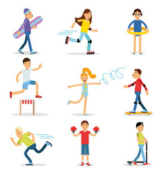 Teenagers children playing sports set children vector
