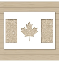 Stencil template of canada flag on wooden vector