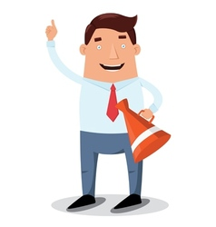 Office worker with horn vector image