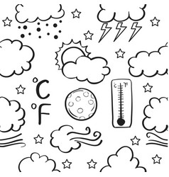Weather style of doodle set vector