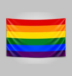 hanging flag of lgbt tolerance concept vector image