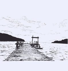 Wonderful seaveiw pier sketch vector