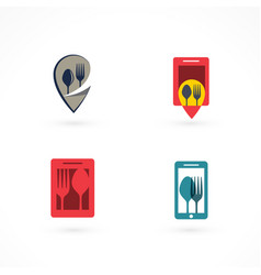 Set of fork and spoon logos vector