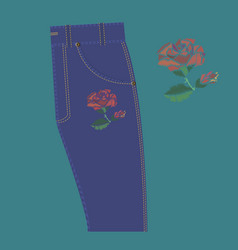 rose embroidery on jeans vector image