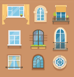 Windows set in different styles and forms window vector