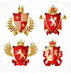 Heraldic coat of arms set vector