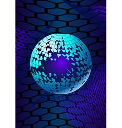 Broken ball over the hexagonal grids vector image