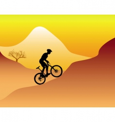 mountain biker riding down hill vector image
