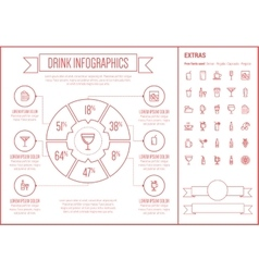 Drink line design infographic template vector