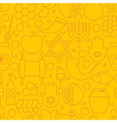Thin rosh hashanah line holiday seamless yellow vector