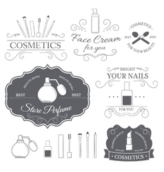 Cosmetics set label template of emblem element for vector