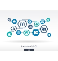 Banking network hexagon abstract background vector