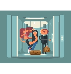 Couple kissing in the elevator vector