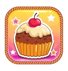 App icon with cute sweet cartoon cupcake vector