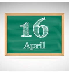 April 16 inscription in chalk on a blackboard vector