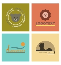 assembly flat icons nature logo bear lion giraffe vector image vector image