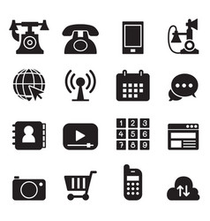 Basic phone application icons set vector