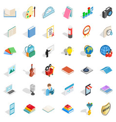 Booklet icons set isometric style vector