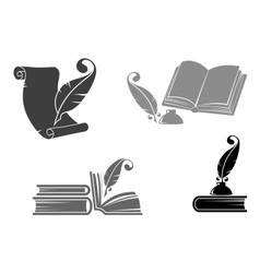 Books and quills vector