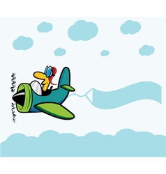 Cartoon plane with pilot clouds and advertising vector image