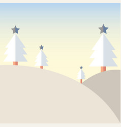 Christmas tree on mountain with snow vector