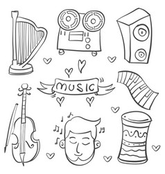 Collection stock of music element various doodle vector