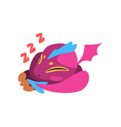 Cute sleeping baby dragon cartoon fantastic vector