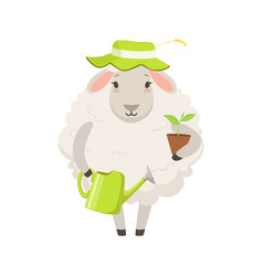 Cute white sheep character wearing green hat vector