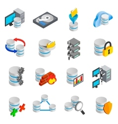 Database icons set vector image