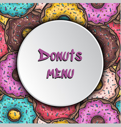 donuts menu background templste seamless pattern vector image