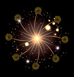fireworks bursting in glowing yellow and starry vector image