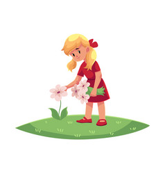 Flat girl collecting field flowers vector