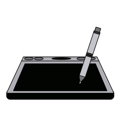 Graphic tablet with pen digital tool design vector