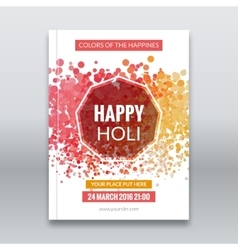 Holi festival poster Template for flyer brochure vector image vector image