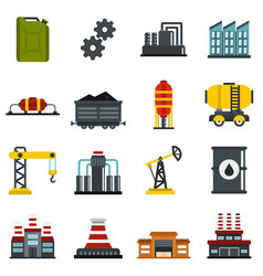 Industry set flat icons vector