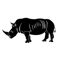 isolated rhino silhouette vector image vector image