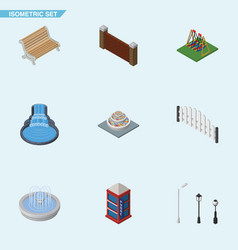 Isometric architecture set of barricade plants vector