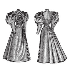 Late 19th century dress is designed vintage vector