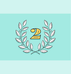 Laurel wreath icon with number two vector