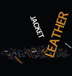 Leather jacket care text background word cloud vector